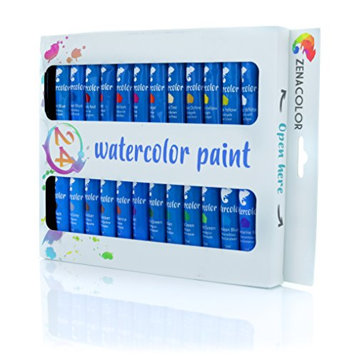 Zenacolor Watercolor Paint Set, 24 Tubes Pack of 24x12mL, and Non Toxic Paint - Dense Pigments and Fast Drying - 24 Unique for Canvas, Paper and Cardboard