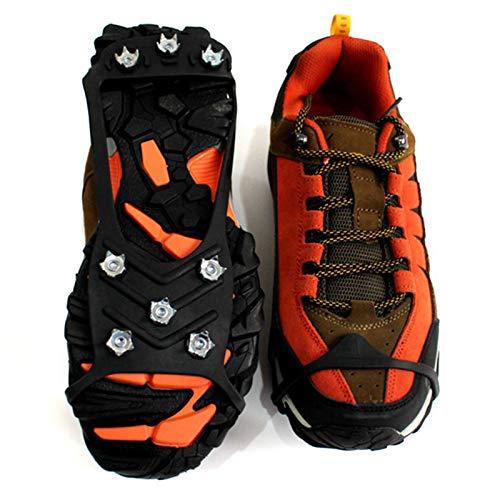 Fancylande Crampones para botas de montaña, crampones de hielo, 8 pinchos para zapatos, antideslizantes, para invierno, caminar, senderismo, montañismo
