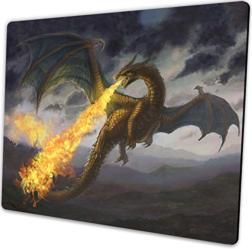 Anyijmo Fire Dragon Gaming Mouse Pad with Stitched Edges, Premium-Textured Mouse Mat Pad, Non-Slip Rubber Base Mousepad for Laptop, Computer & PC, 9.5×7.9×0.12 inches