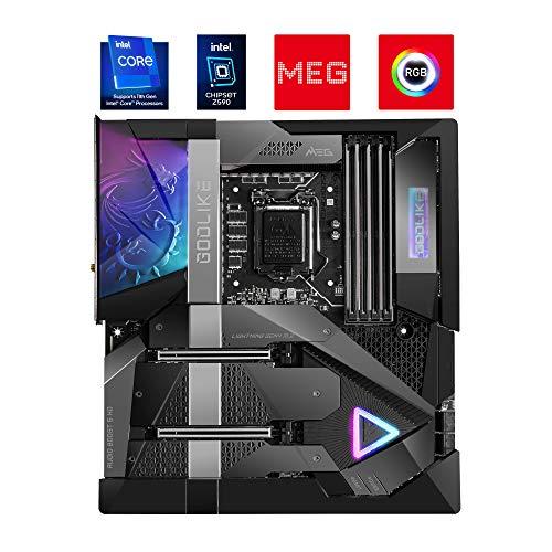 MSI MEG Z590 GODLIKE Scheda Madre gaming E-ATX - Supporta processori Intel Core 11th Gen, LGA 1200 - OLED e RGB, 20 Phase 90A VRM, DDR4 Boost (5600MHz/OC), 2 x PCIe 4.0x16, 4xM.2 Gen4/3 x4, Wi-Fi 6E