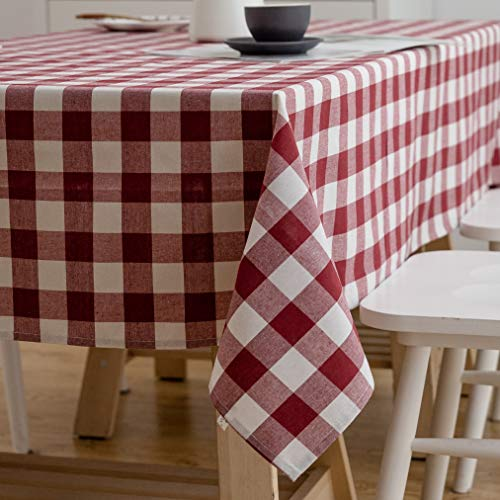 Aquazolax 54x54 Square Red Gingham Tablecloth Cotton Polyester Fabric Textured Protector for Dining Picnic Folding Highboy Table, 54 inch Square, Red