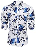 COOFANDY Men's Slim Fit Floral Dress Shirt Long Sleeve Casual Button Down Shirts (01_White&Blue, Medium)