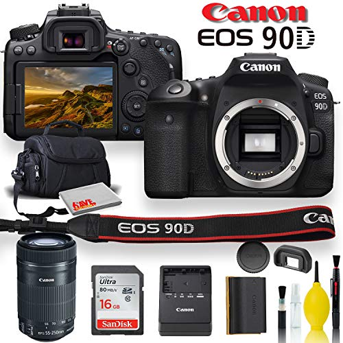 Canon EOS 90D DSLR Camera with Canon EF-S 55-250mm f/4-5.6 is STM Lens, Soft Padded Case, Memory Card, and More (International Model)