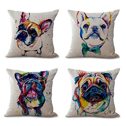 Hengjiang Cushion Covers 45cmx45cm /18 x 18 French Bulldog Painting Series Clear Color Painting Cotton Linen Cushion Cover 4 piece
