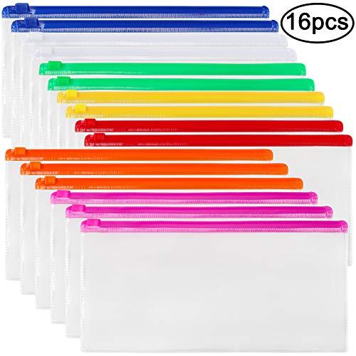 JPSOR 16pcs Poly Zip Envelope File Bag Bill Bag Pencil Case, Plastic Zipper Pouch 9 x 4.7 Inches, 7 Assorted Colors