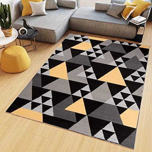 Tapiso Maya Alfombra de Salón Sala Diseño Moderno Amarillo Negro Gris Blanco Geométrico Triángulos Mosaico 160 x 230 cm