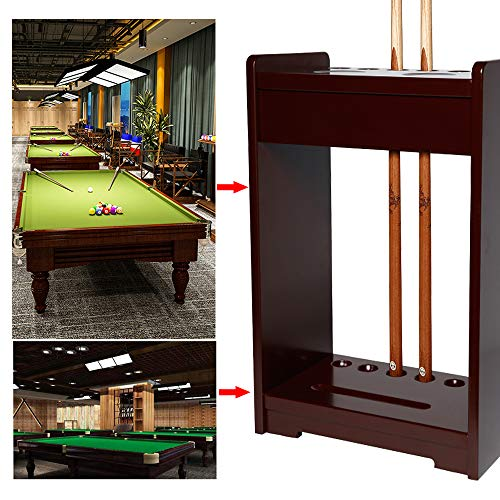 AILILI Queue-Ständer - Billard-Queue-Halter,6 Pool Queue Rack,vormontiert,Hartholz,Billard Stick Ständer,Billard Zubehör Mahagony Style 42 X 24 X 60cm