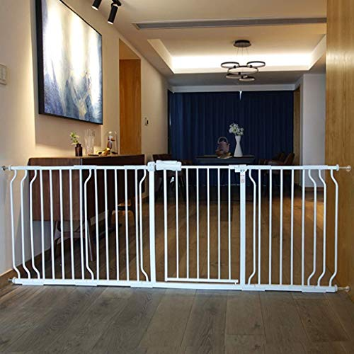 SuRose Extrabreite Haustiertore für den Treppenaufgang im Innenbereich, druckmontiert, Baby- / Hunde- / Katzentür, Weißmetall, 61-241,9 cm breit (Größe: 134-145,9 cm)