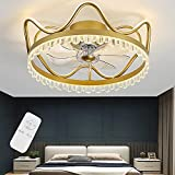 Ventilador de luz de techo LED con iluminación Regulable Extremadamente silencioso Moderno Lámpara de techo Dormitorio Sala de estar Habitación para niños Luz de techo de cristal (Golden,46cm)
