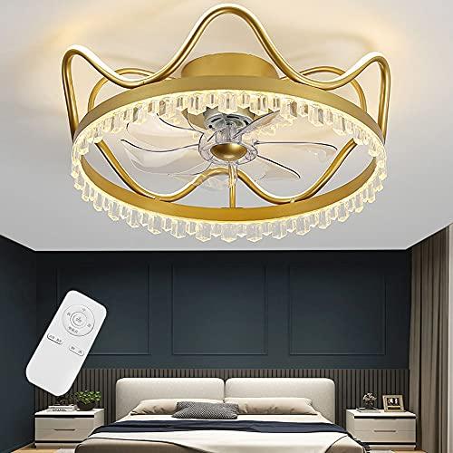 Ventilador de luz de techo LED con iluminación Regulable Extremadamente silencioso Moderno Lámpara de techo Dormitorio Sala de estar Habitación para niños Luz de techo de cristal (Golden,56cm)