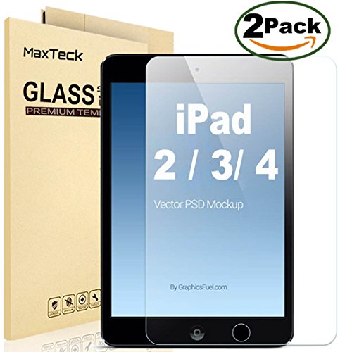 Best Prices! [2 Pack] iPad 2 3 4 Glass Screen Protector, MaxTeck 0.26mm 9H Tempered Shatterproof Gla...