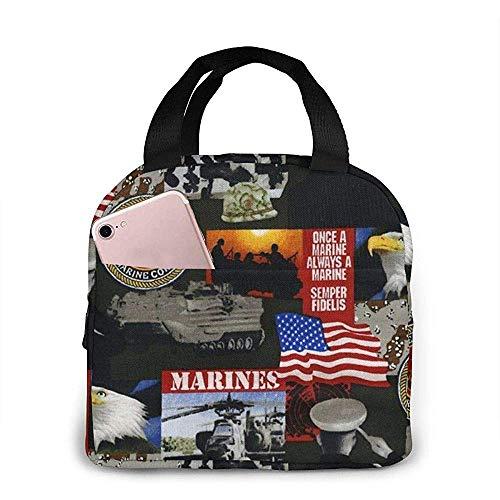 Jongens Meisjes Geïsoleerde Neopreen Lunch Bag - Verenigde Staten van Amerika Mariniers Militaire Tote Handtas Lunchbox Voedsel Container Koeler Warm Pouch voor School Werk Office