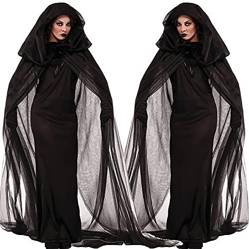 huayuwy Disfraz de Bruja de Novia Fantasma de Mujer de Halloween Disfraz de Mujer Noche de Carnaval Bruja de Alma errante Capa Larga Disfraz de Demonio Zombi de Terror