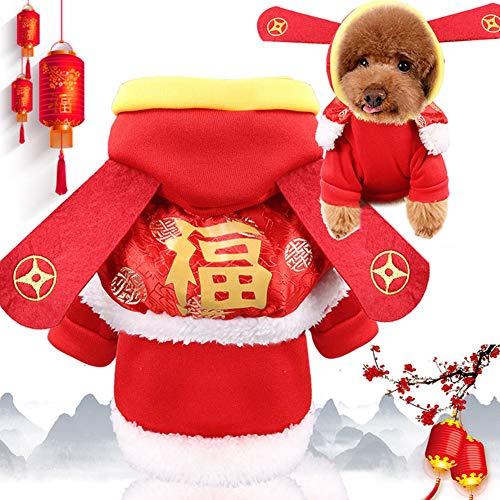 DishyKooker New Year Cloak God of Wealth Hundekleidung Katze Haustier Kleidung Zubehör Warm Winter Coole Haustierkleidung, rot, xs