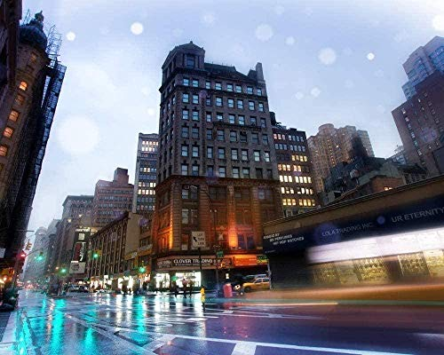 sdfgea al óleo Digital por números para Nueva York Broadway Street Kits Dibujo para Colorear Home Principiante Decoración Imagen Pintada a Mano Arte Moderno -No Frame-40x50cm
