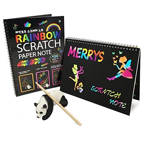 JZTOL Tablero De Dibujo Infantil Dibujo Papel, Magic Scratch Art Doodle Dibujo Tablero Cuaderno DIY Rainbow Dibujo Dibujo Juguetes para Niños Niños Pintura Regalos De Juguetes Educativos