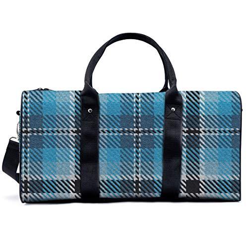 Bolsa de gimnasio deportiva, azul turquesa y azul colonial a cuadros, bolsa de yoga, bolsa de hombro, bolsa de fin de semana, bolsa de viaje para hombres y mujeres