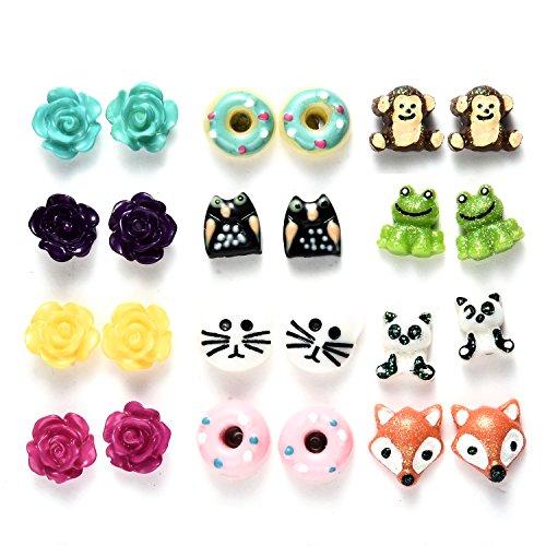 12 Paia Set Orecchini Animali Piccoli per Bambini,anallergici (12 paia orecchini bambina anallergici)