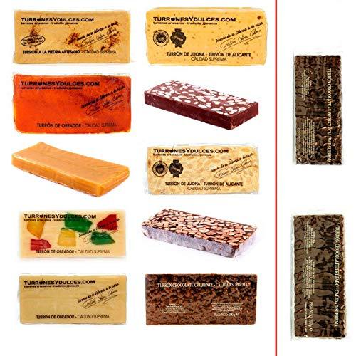 Lote de 10 Turrones artesanos variados (+1 de Regalo). 3,1 KG – Turrones Fabián - Pack de Turrón (9 x 300 G + 2 x 200 G) - Formado por 11 barras o tabletas de Turrón: Jijona blando (D.O.), Alicante duro (D.O.), a la Piedra, Chocolate con Almendras, Yema Tostada, Yema, Fruta, Guirlache, Nieve (de Mazapán), Chocolate Crujiente (200 G). Además, de Regalo, elegir entre; Chocolate al Whisky (200 G) o Chocolate Trufado (200 G) - Elaborado y Enviado desde Jijona, Alicante.
