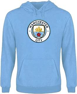 Outerstuff Manchester City Youth Light Blue Crest Logo Long Sleeve Hooded Sweatshirt