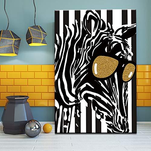 oioiu Abstraktes wildes Tierzebra mit Sonnenbrillen-Leinwandmalerei kreatives Wandgemälde Hauptdekoration Wohnzimmer HD-Druckpferdplakatbild