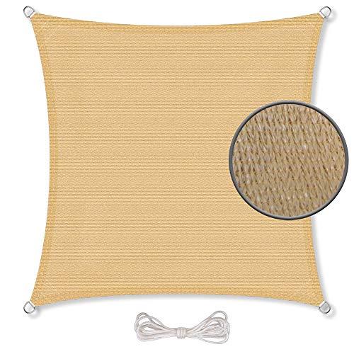 CelinaSun Sonnensegel inkl Befestigungsseile Basic HDPE Quadrat 4 x 4 m sandbeige Sonnenschutz atmungsaktiv