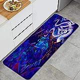 DYCBNESS alfombras de Cocina Antideslizantes Lavables,Saxofonista de Jazz en el Sombrero músico de Jazz saxofonista Estilo Grunge Abstracto con Puntos Brillantes y Gran pintoresco,45x120cm