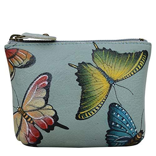 Anuschka Kleine Geldbörse aus Leder für Damen – echtes weiches Leder – handbemalt Original Art – Butterfly Heaven