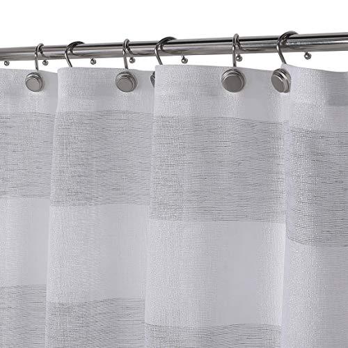GoodGram Spa Chic Cabana Metallic Striped Fabric Shower Curtains - Assorted Colors (Silver/Gray)