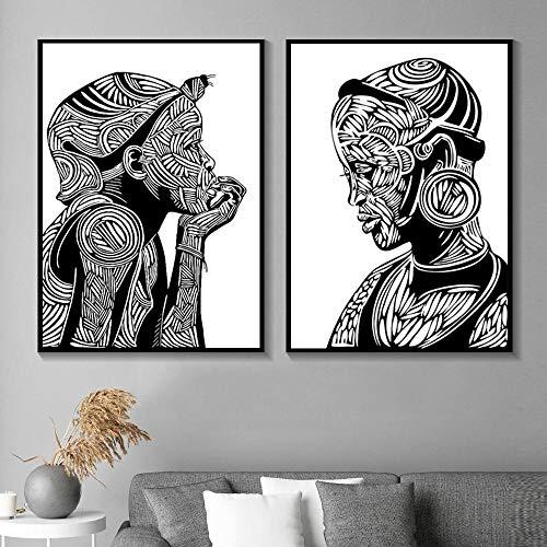 Zwart-wit jongen Afrikaanse portret abstracte kunst schilderij schilderij muurschildering foto op canvas huisdecoratie-frameloze 40x60cm * 2