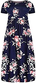 New Fashion Large Size Loose Casual Dress Large Size women's Printing short-sleeved Dress Casual Loose Summer Dresses Plus Size brand:TONWIN (Color : Black, Size : 5XL)