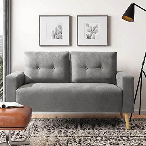 Pawnova Upholstered Mid Century Loveseat Sofa for Living Room, Modern Design Sofa with Tufted Back, Gray