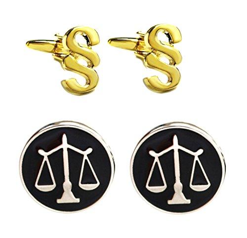 Unbekannt Manschettenknöpfe Jura Paragraphen + Justizia Symbol für Gerechtigkeit + Geschenkboxen