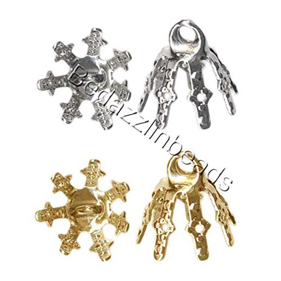 20 Bell Bead End Caps with 7mm Setting Prong Legs and Charm Loop For Hanging (Gold Plated)