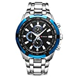 Mens Watches,CURREN Watches Quartz Analog Calendar,Wrist Watch for Men, Fashion Waterproof Stainless Steel Band-Black