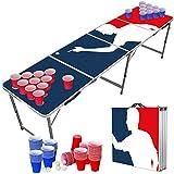 Original Cup - Set de Mesa de Beer Pong, 1 x Mesa de Beer Pong + 120 x Vasos (60 Rojos y 60 Azules) + 6 x Bolas, Dimensiones Oficiales 240 x 60 x 70 cm - Player
