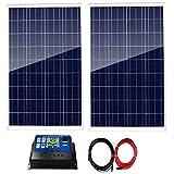 AUECOOR Kit de panneau solaire 200 W : 2 panneaux solaires 100 W avec contrôleur solaire 30 A + câble solaire 5 m pour camping-car, bateau, maison, camping, hors réseau