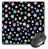 pastel cute star pattern on black mousepad