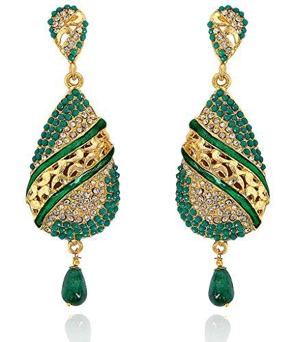 Touchstone Pendientes de araña de joyería india bollywood mina-s s para mujer Verde