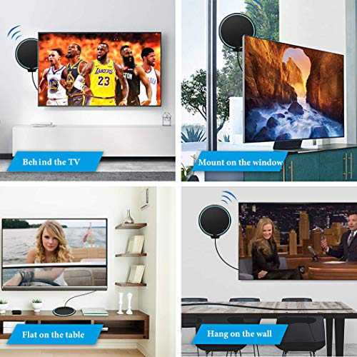 TV Antenna, Indoor Digital HDTV Television Antenna Freeview 4K 1080P HD VHF UHF for Local Channels 130 Miles with Amplifier Support All TV 16.5 feet Cable