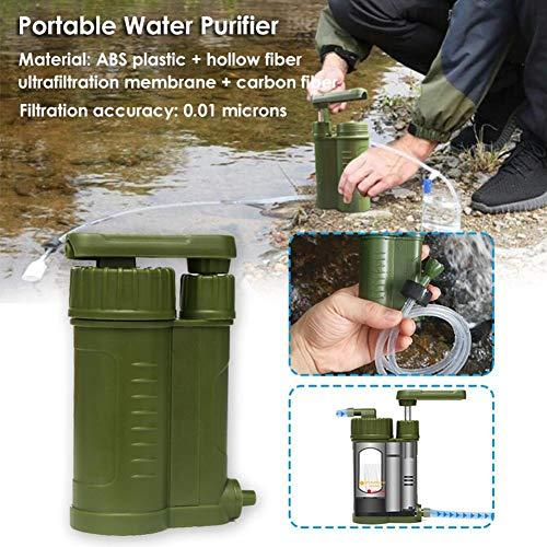 No LOGO Purificateur d'eau portable Purificateur d'eau Portable Camping Urgence Vie Survie 0.01 Micron Filtres Pour Randonnée Sac à dos, Vert