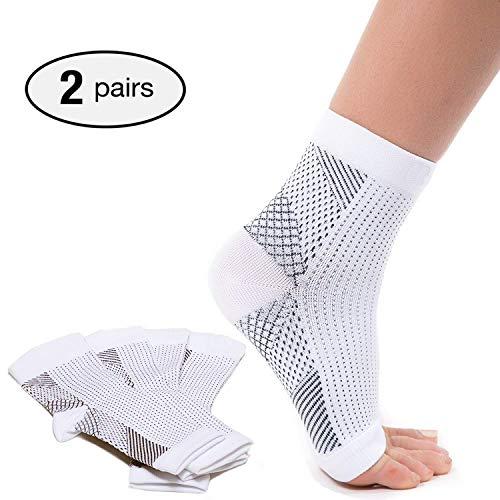 2 pares de calcetines de fascitis plantar con soporte de arco, mangas de compresión para el cuidado de los pies, alivia la hinchazón y los talones, soporte de tobillera para aliviar el dolor rápido
