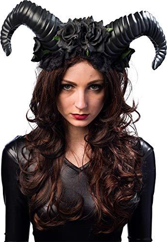 Orlob Teufelshörner mit Blumen - Schwarz - Haarreif perfekt zum Böse Königin, Dunkle Fee, Dämon, Teufel Kostüm an Halloween, Fasching, Motto Party oder Karneval
