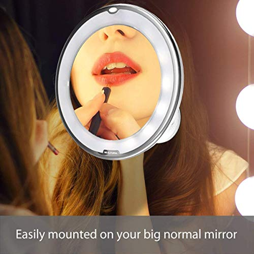 BEAUTURAL 10X Magnifying LED Lighted Makeup Mirror