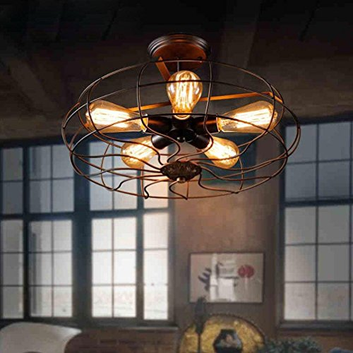 Retro Antique Industrial Ceiling Light Creativo Hierro Metal Pantalla Rust Color 5-Lights Art Lámpara de techo Living comedor Comedor Dormitorio Country Style Ceiling Lighting E27 Máx. 60W Ø48cm