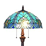 Cotoss Tiffany Style Floor Light, 2-Light Tiffany Pole Lamp, 18 Inch Wide Tiffany Floor Lamp, Blue Victorian Stained Glass Floor Lamps, Standing Lamp, Leaded Glass Floor Lamp