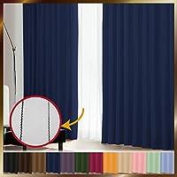 窓美人 1級遮光カーテン&UV・遮像レースカーテン 各2枚 幅100×丈230(228)cm ロイヤルブルー+ピュアブラック 断熱 遮熱 防音 紫外線カット