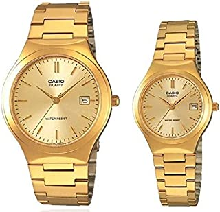 Casio His & Her Gold Dial Stainless Steel Band Couple Watch [MTP/LTP-1170N-9A] For Unisex, Analog