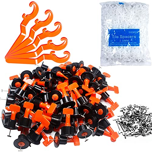 """Tile Leveling System Kit,200pcs Reusable Tile Leveler Spacers+1000pcs 1/12"""" Cross-shaped Tile Spacers+5pcs Wrench+50pcs 1/16"""" Replaceable Spare Steel T-Pin,Tools for Wall Floor Tile Adjustment(200)"""