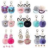 18Pcs Pom Pom Keychain Bulk incl. Travel Makeup Mirror Cute Puff Ball Keychain Bulk for Women Girls Bag Purse Charm Car Key Rings (Mix-18pcs)